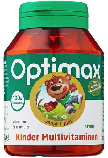 Optimax Kinder 1+ Multivitamine Kauwtabletten Naturel 100 stuks