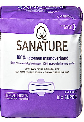 SANATURE 100% KATOENEN MAANDVERBAND NACHT