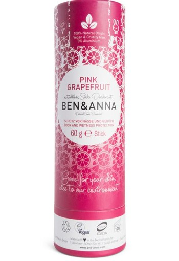 Ben & Anna Deodorant pink grapefruit push up (60 gram)