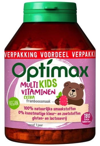 Optimax Kinder 1+ Multivitamine Kauwtabletten Extra Framboos 180 stuks