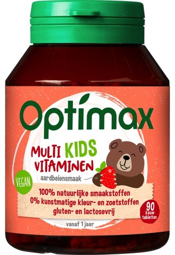 Optimax Multi Kids vitaminen Aardbeiensmaak 90 stuks
