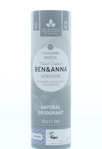 Ben & Anna Deodorant highland breeze sensitive (60 gram)