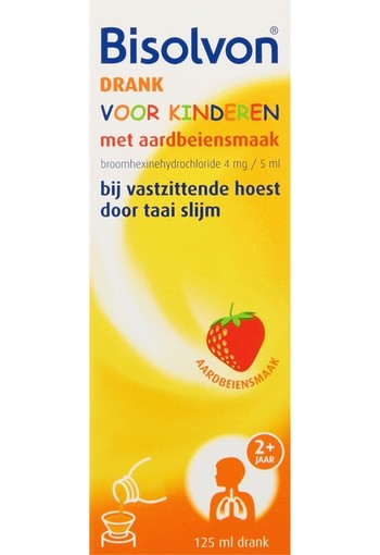 Bisolvon Drank kind aardbei (125 ml)
